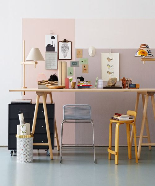 a sweet and cute color block home office in blush and lavender with a color block effect