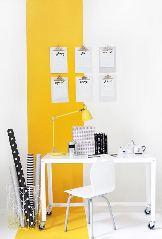 make your home office welcoming and mood-raising with a color block effect in yellow and white