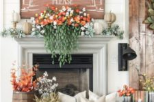 gorgeous fireplace decor for fall and thanksgiving