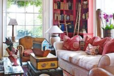 21 make your shelves colorful, for example, red or pink, to accent your books even better