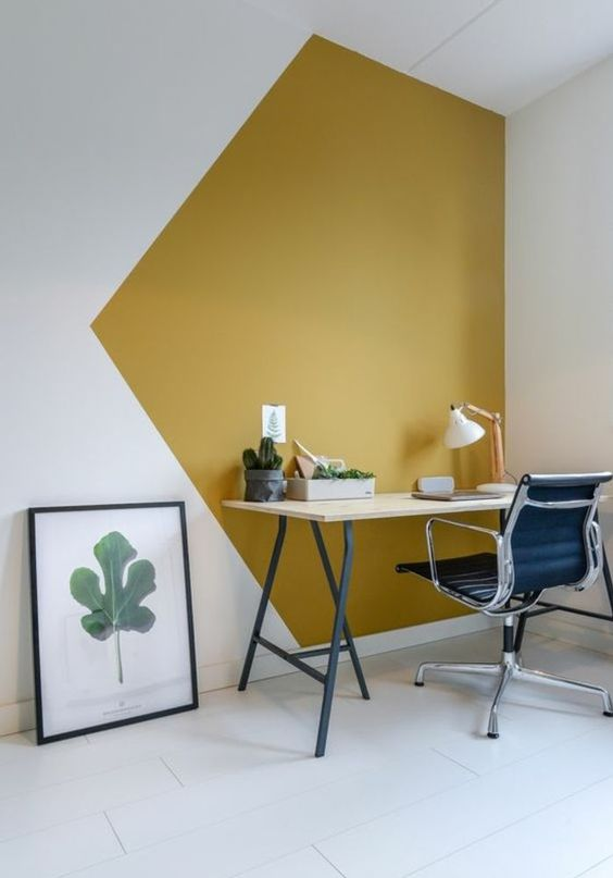 mustard and white geometric color blocking will make your home office quirky and bold