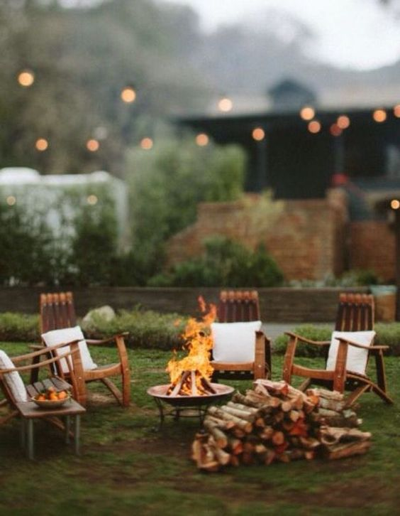 an outdoor firepit is also a good idea for lighting and warming up the space
