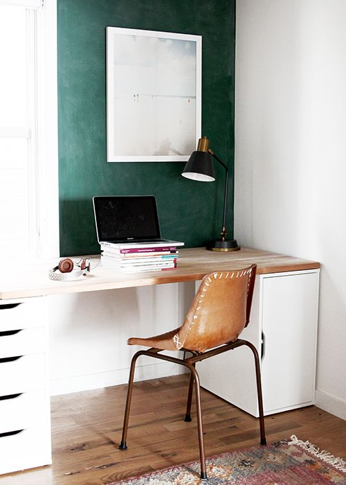 make your home office nook bolder with a combo of emerald and white, such a statement wall makes the space cooler