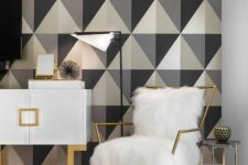 23 bright geometric wallpaper takes over the whole space here