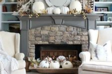 white pumpkins to decorate a mantel for thanksgiving