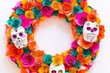 25 a super colorful paper flower wreath with painted sugar skulls is a chic idea that can be DIYed