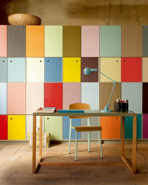 if you have a large storage unit with many drawers, go for color blocking to raise your mood every time you enter