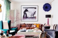 25 lots of furniture in bold colors, prints and fabrics for a bright maximalist space