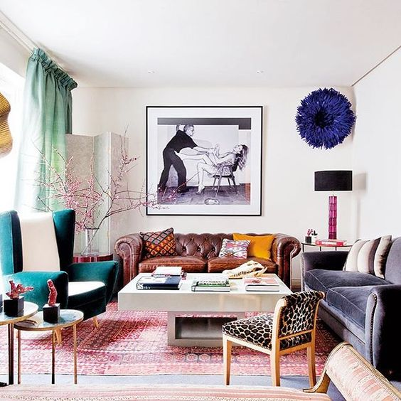 lots of furniture in bold colors, prints and fabrics for a bright maximalist space