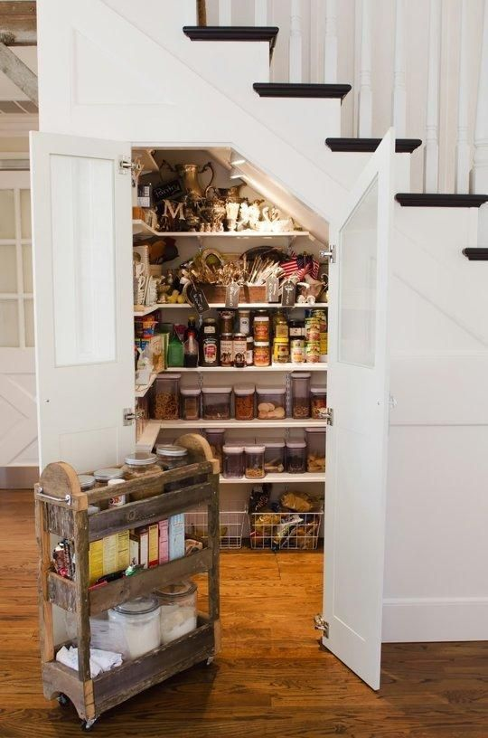 use the under the stairs space for a kitchen pantry, this space can accmmodate a lot of things and food