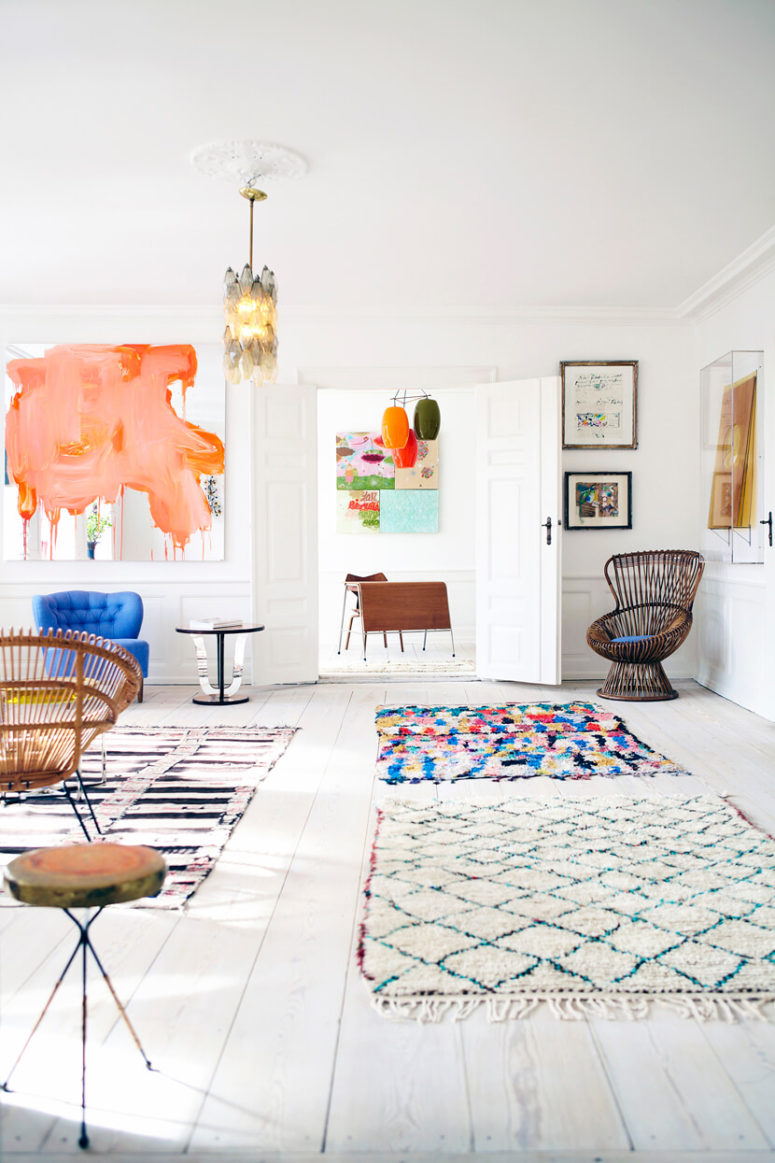 a bright open layout in bold colors and prints here and there that create the whole atmosphere