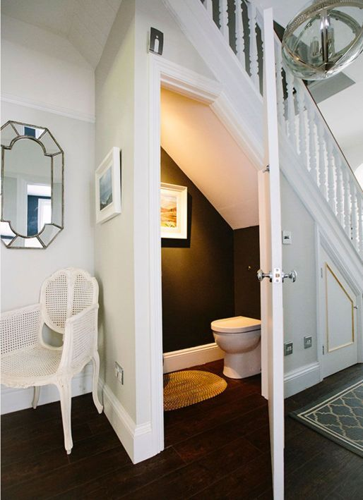an under the stairs powder room - this space is exactly what you need to accommodate one