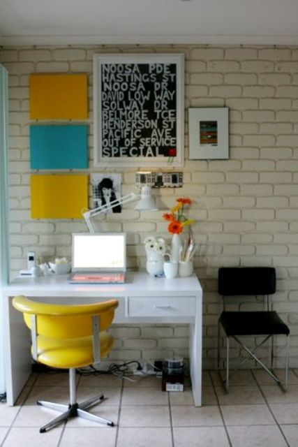 light color blocking in blue and yellow and a matching chair