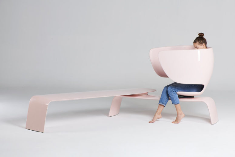 Heer is a bench that is created to let mother breastfeed in public while keeping the process private