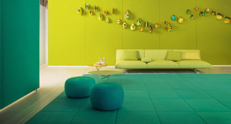 Paola Lenti felt rugs are ideal for cozying up your space with their bold shades and pure natural wool