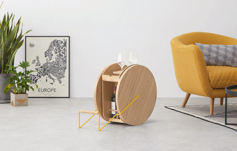The ROWND drinks cabinet is a cool bar cart idea for a modern space, it's far from being usual