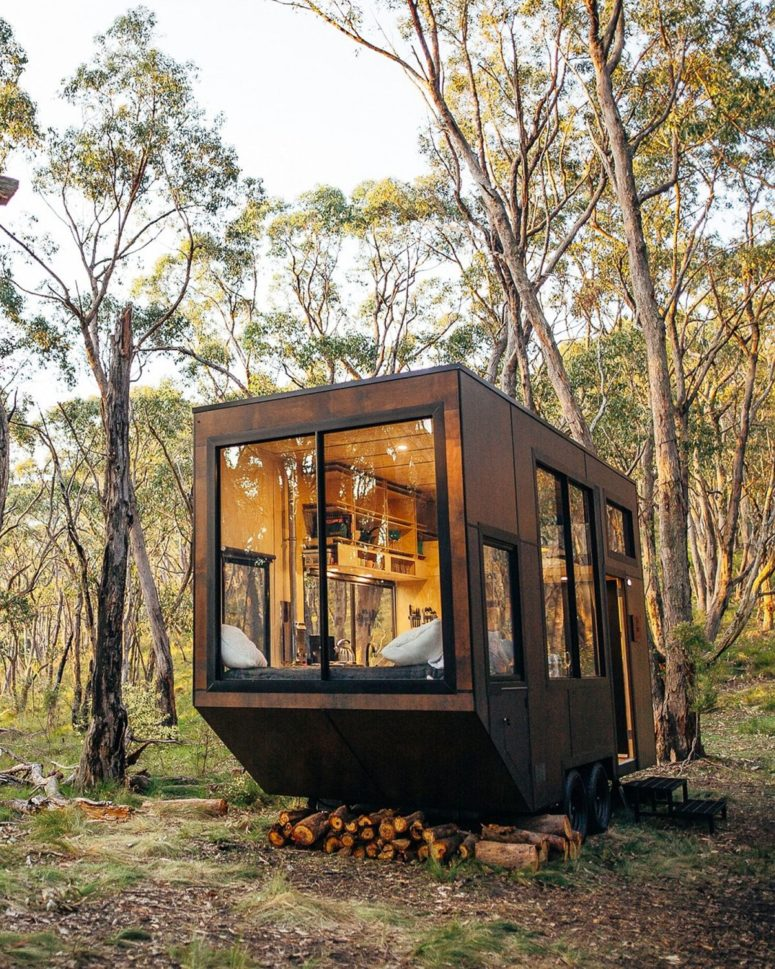 The cabin features a lot of windows to catch the views and fill the small space with light