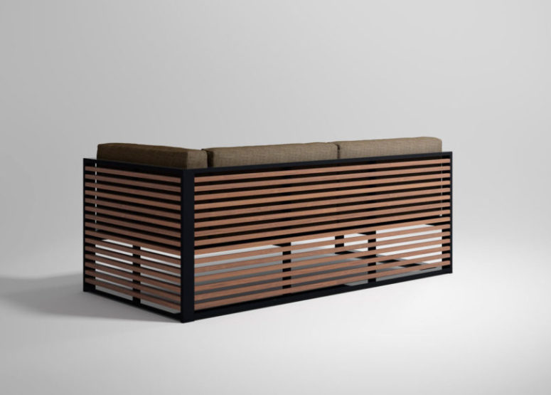 The teak is framed with aluminum profiles for a cool look and more stability