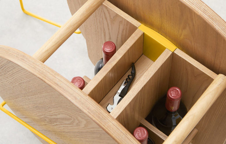 Inside there are compartments for various bottles and glasses plus openers and other small stuff