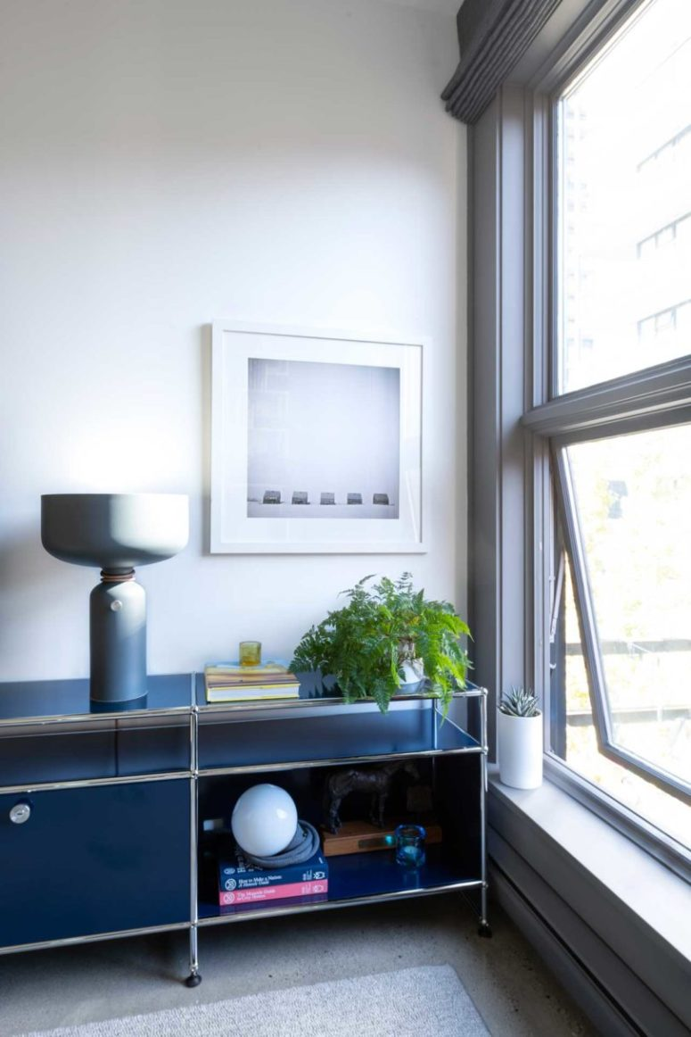 There's much storage in the apartment and this stylish blue unit is one of storage spaces