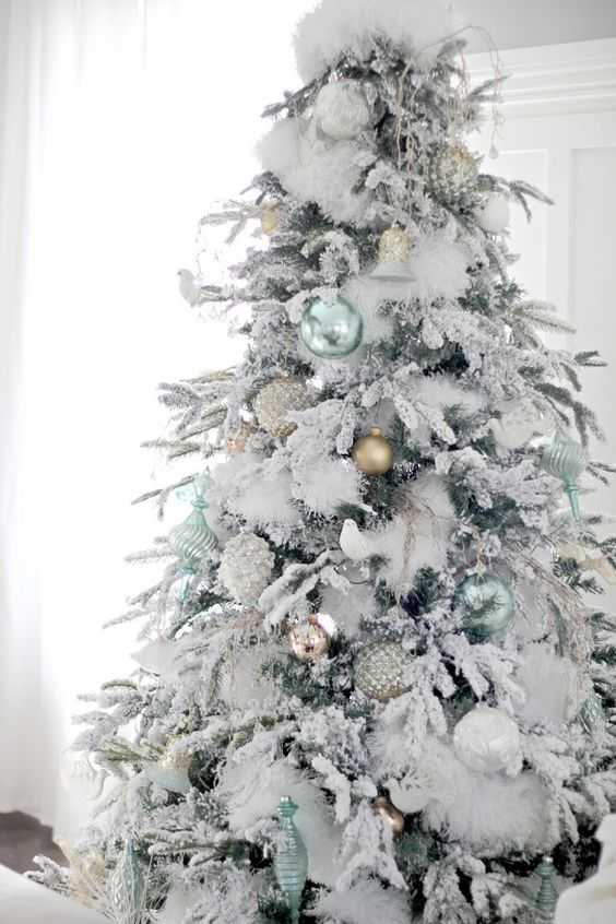 a flocked Christmas tree with faux fur, mint, silver and other metallic ornaments for a storng winter feel