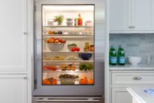 03 a glass door fridge is a cool idea for a contemporary space, though it needs more maintenance, it instantly adds a modern feel