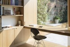 04 a glazed wall with a built-in shelf-like desk, you may hide it and enjoy the view completely