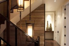04 a modern rustic space with lots of dark stained wood in decor and white to make a contrast