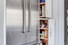 04 stainless steel fridges are a standard modern solution, which isn't that costly and works great for many styles