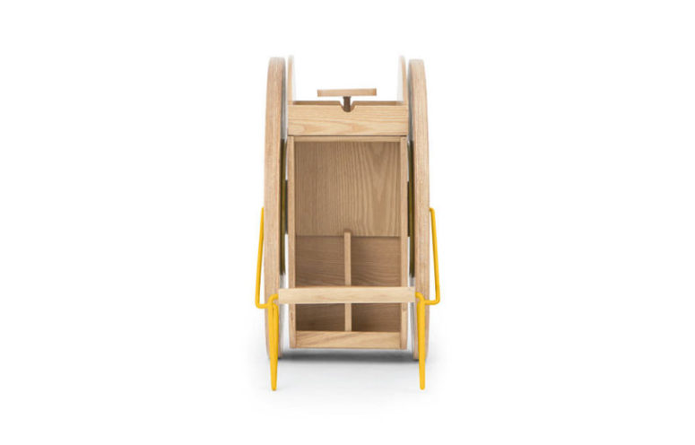 Get a modern and bold bar cart of neutral plywood and with a bold yellow touch, so cool and catchy