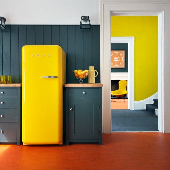 make a bold statement in your ktichen rocking a bright Smeg fridge, for example, a yellow one