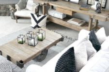 06 a neutral rustic modern farmhouse with touches of industrial style and wood slices