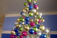 06 a super colorful floating Christmas tree of bright ornaments, shiny, matte and glitter ones