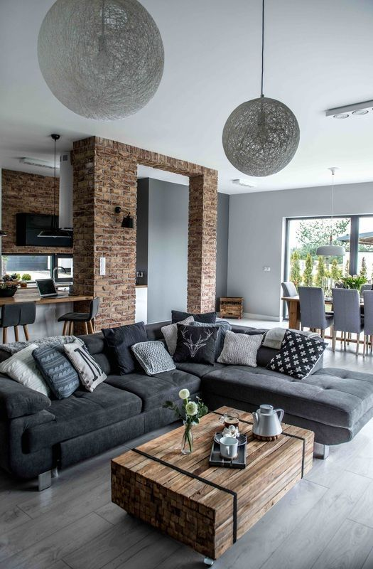 greys, browns and touches of off white are great for an industrial home, it's deep and dramatic