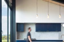 kitchen with stone backsplash