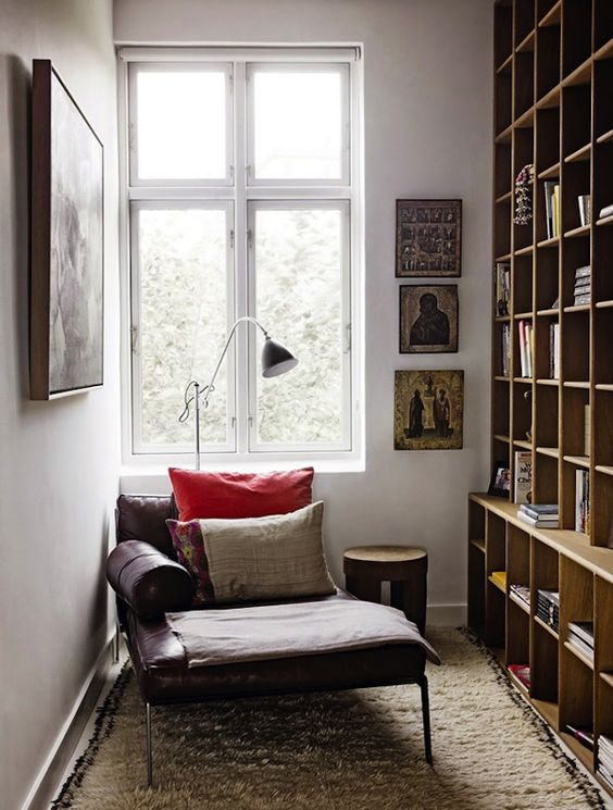 a task floor lamp and a window is a great idea to fill your nook with light