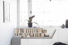 10 create a window seat to match the style of your home office, place books next to it if needed