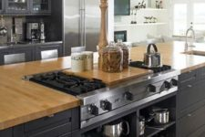 kitchen island with a built-in stovetop