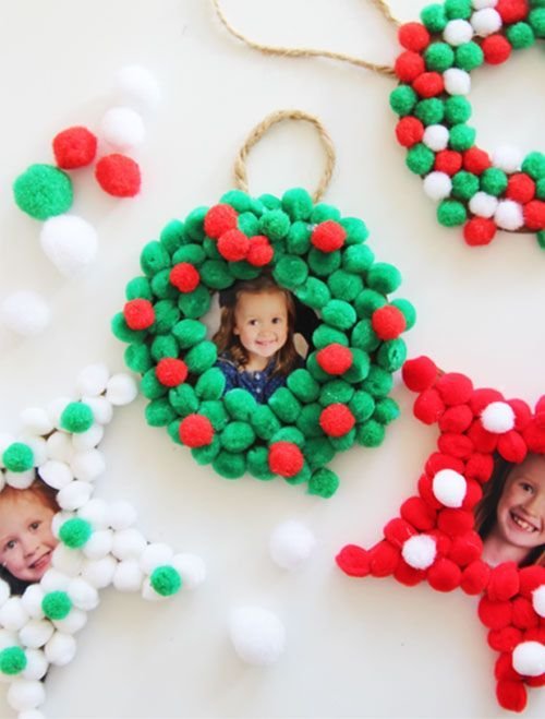cute family like pompom ornaments with photos inserted are a great gift or decoration for Christmas