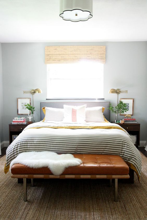 a neutral bedroom is ideal for both men and women and gold metals also fit both genders
