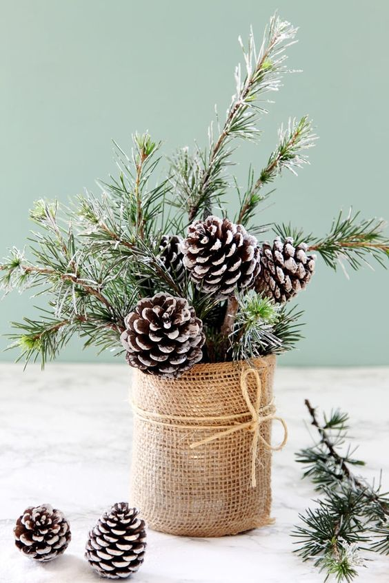 a cool Christmas centerpiece or decoration of snowy evergreens and pinecones in a tin wrapped with burlap