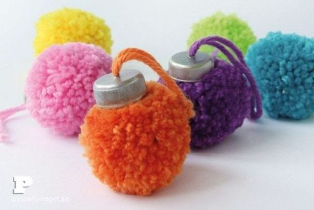 colorful Christmas ornaments made of pompoms and tin tops will add a lot of fun to your tree