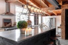 14 exposed wooden beams on the roof with lamps hanging from them for a fresh modern rustic look