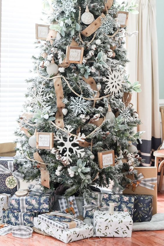 a flocked farmhouse Christmas tree with pale greenery, large cardboard snowflakes, burlap ribbons and little signs in frames