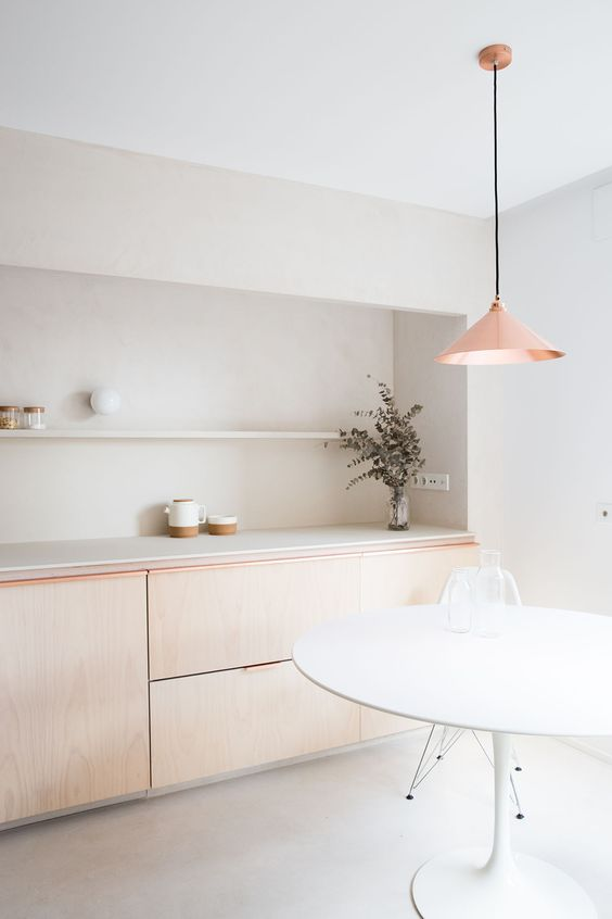 add textures with plywood or wood furniture, with a copper lamp to make it bolder