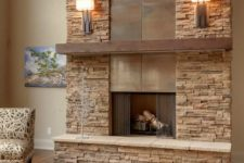 18 a faux stone clad fireplace with metal incorporated is ideal for a modern rustic living room