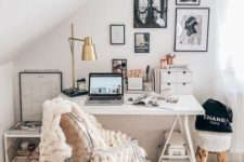 18 a neutral home office and a play of textures with chunky knit, faux fur and metal for a catchy look