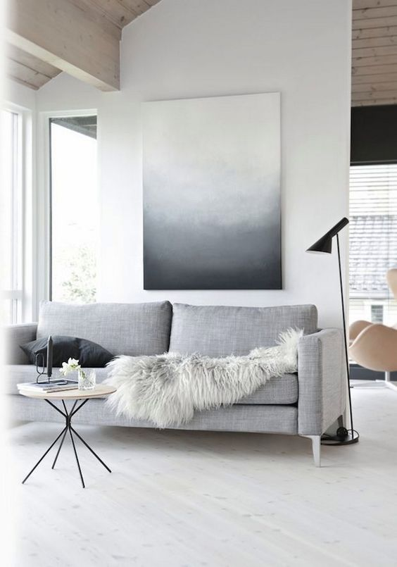 add interest with fur throws or an ombre wall art in the shades of your space