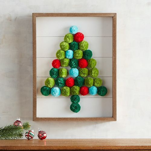 a Christmas tree artwork made of colorful pompoms in a frame, it's very easy to make