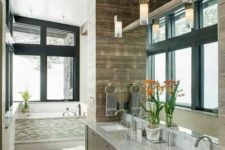20 even bathrooms in a modern rustic home should feature large windows to fill it with light